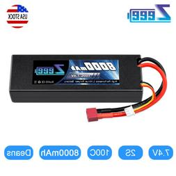8000mAh 7.4V 100C 2S Deans Plug Hardcase LiPo Battery for RC