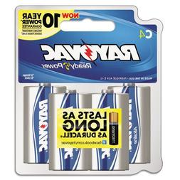 RAY-O-VAC 8144F Alkaline Batteries, C, Recloseable Card, 4/P