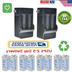 8x CR123A 3.7V 16340 2800Mah Rechargeable Lithium Battery +2