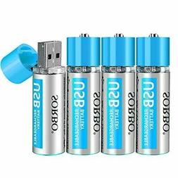 AA Batteries - USB Rechargeable Double A Lithium Batteries -