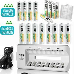 EBL AAA AA NIMH Rechargeable Batteries 1100mah 2800mah +Box