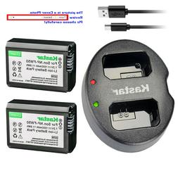 Kastar Battery Dual USB Charger for Sony NP-FW50 BC-VW1 & IL