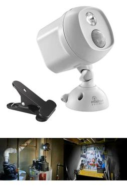 Battery Operated Dove Gray Led Single Head Spotlight With Cl