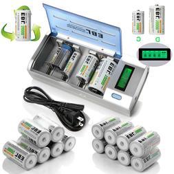 C D Size 5000/10000mAh Rechargeable Batteries+ AA AAA 9V NI-