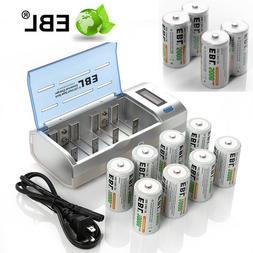 D / C size 10000mAh 5000 NiMH Rechargeable Batteries / LCD 9