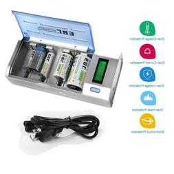 EBL LCD Smart Charger For 9V AA AAA Ni-MH Ni-Cd C D Size Rec