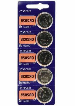 FRESH NEW Stock Lot 5 SONY CR2025 ECR2025 Lithium Battery 3V