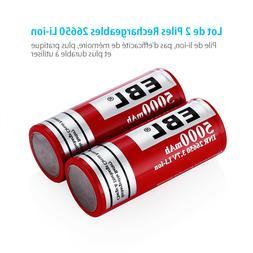 2PCS EBL 3.7V INR 26650 5000mAh Rechargeable Li-ion Lithium-
