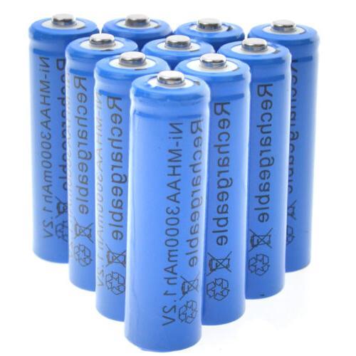 10 aa rechargeable batteries nimh 3000mah 1