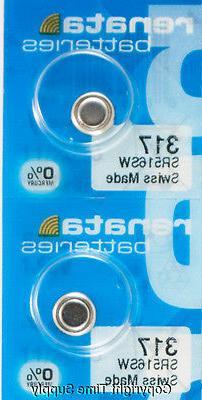 2 Pc 317 Renata Watch Batteries 317 SR516SW 0% MERCURY
