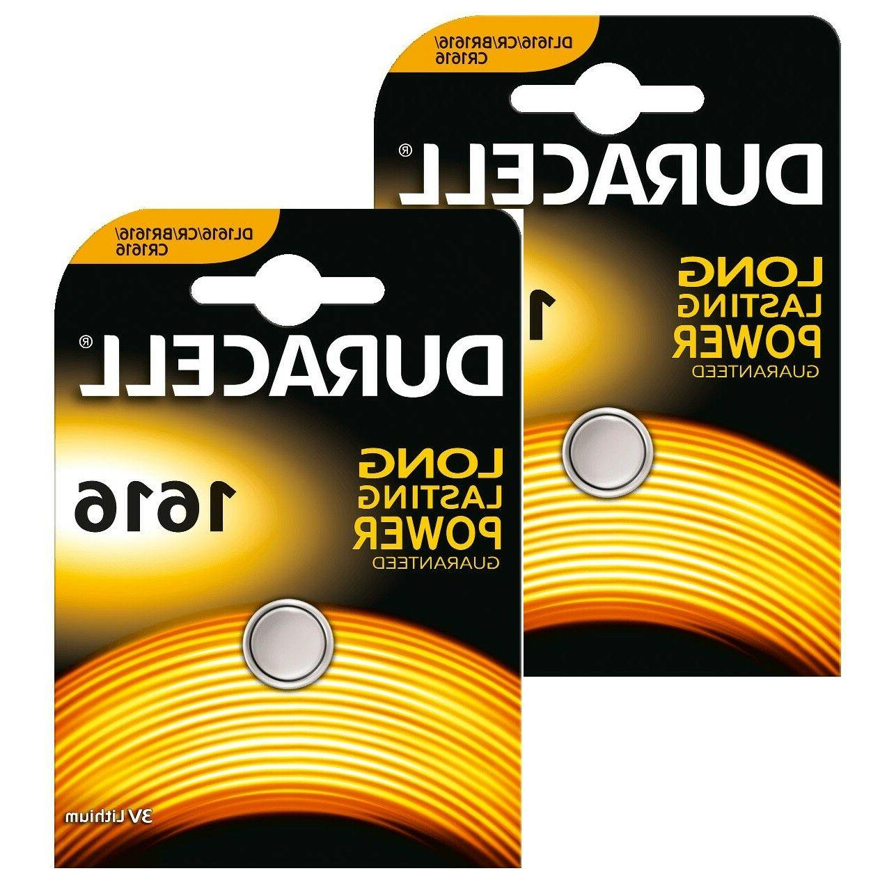 2 x Duracell Lithium CR1616 3V Coin Cell batteries DL1616 BR