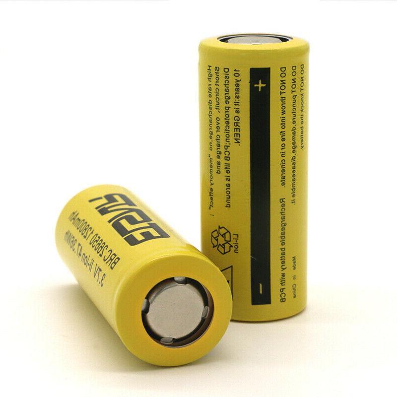 26650 Battery 12800mAh Top Li-ion Rechargeable Cell Slot USA