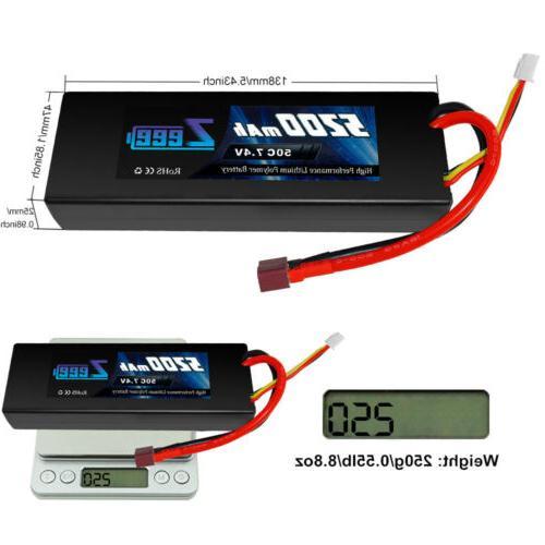 2pcs Zeee 50C 7.4V Battery 2S Deans Hardcase Car Truck
