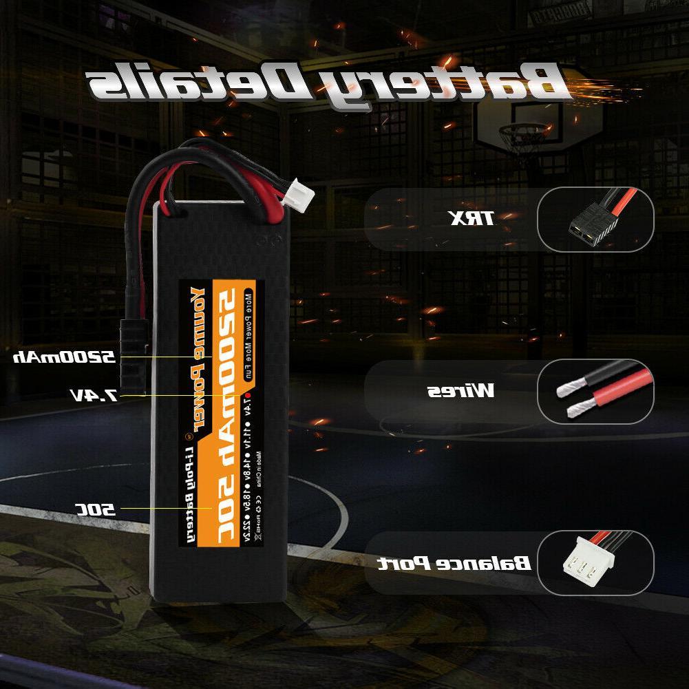 2pcs 7.4V 2S LiPo Battery 50C Hardcase for RC Truck