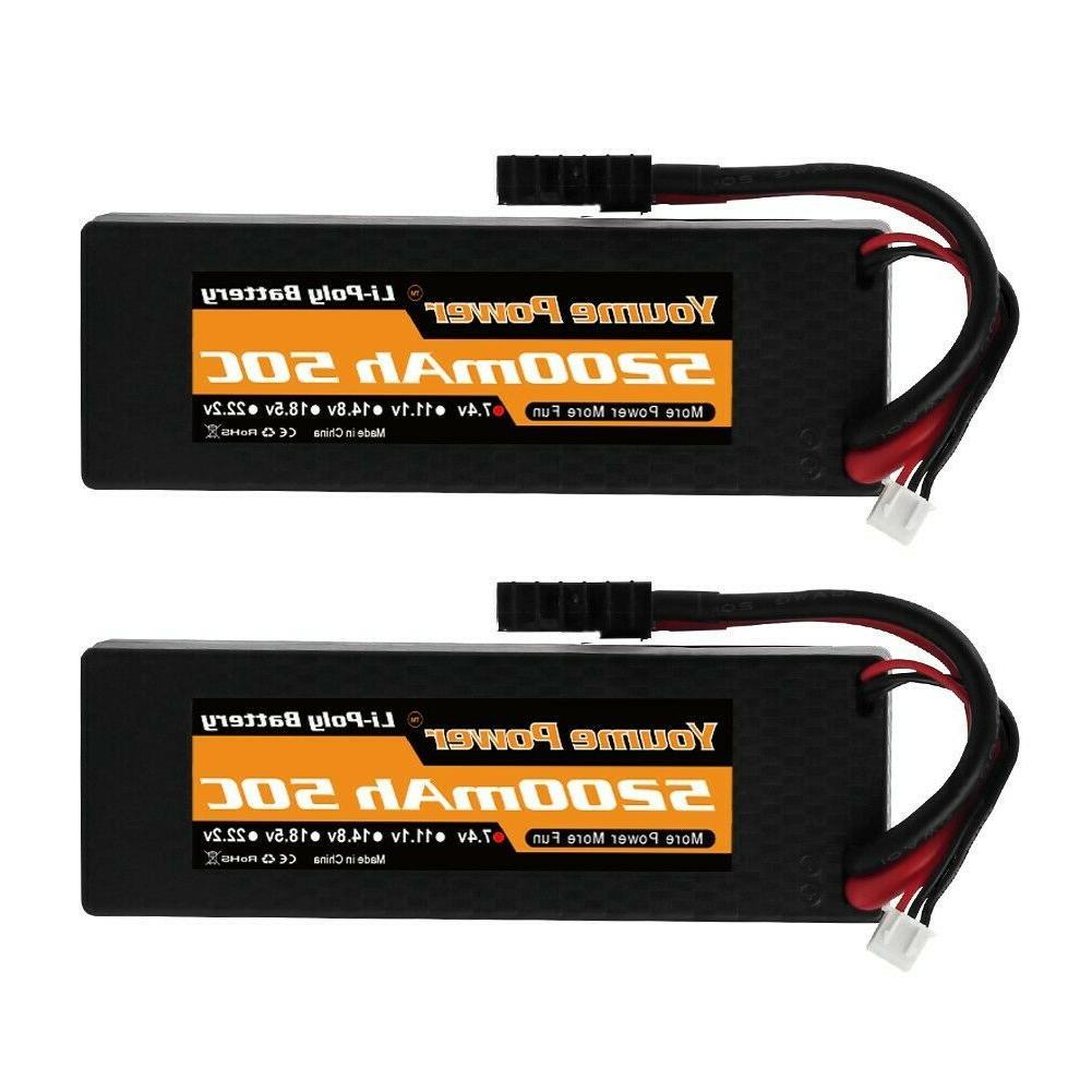 2pcs 7 4v 2s 5200mah lipo battery