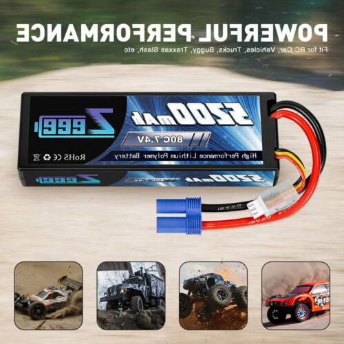 2pcs Zeee 80C 7.4V 2S Hardcase RC Car