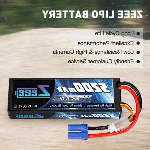 2pcs 5200mAh 80C 7.4V LiPo Battery 2S for RC Car Boat