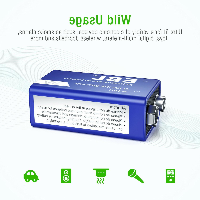 4pcs 9-Volt Battery 6LR61 Heavy