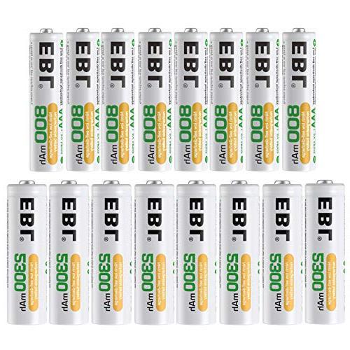 EBL 16 Sets AA AAA Batteries Combo with 8PCS AA 2300mAh & 8-