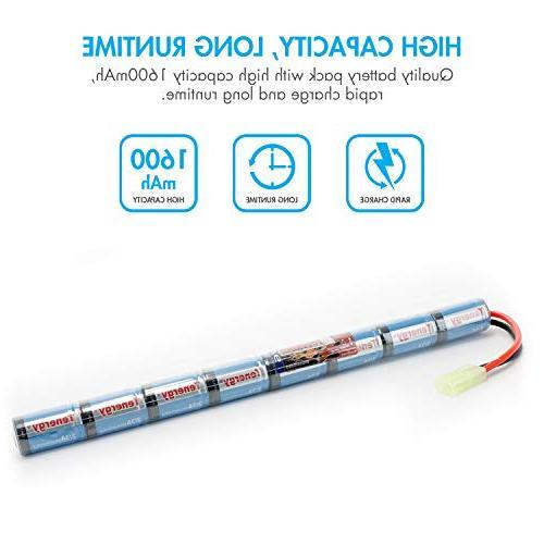 Tenergy Airsoft 9.6V 1600mAh NiMH Stick Battery High Performance Stick Type Rifles