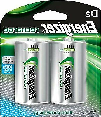 Rechargeable D Batteries, NiMH, 2500 MAh, 2 Count High Ca