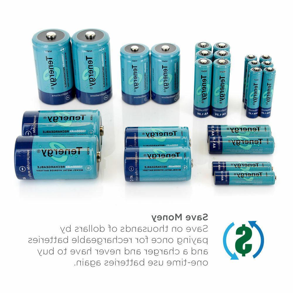 Tenergy AA/AAA/C/D/9V Capacity Batteries Cells Lot