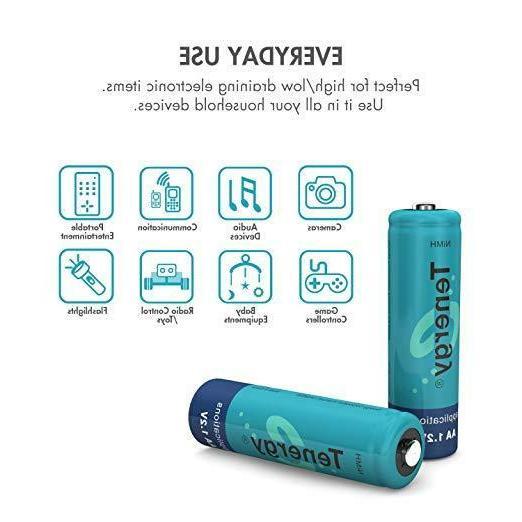 Tenergy 1.2V Capacity 1000mAh NiMH Rechargeable Batteries Cell Bulk