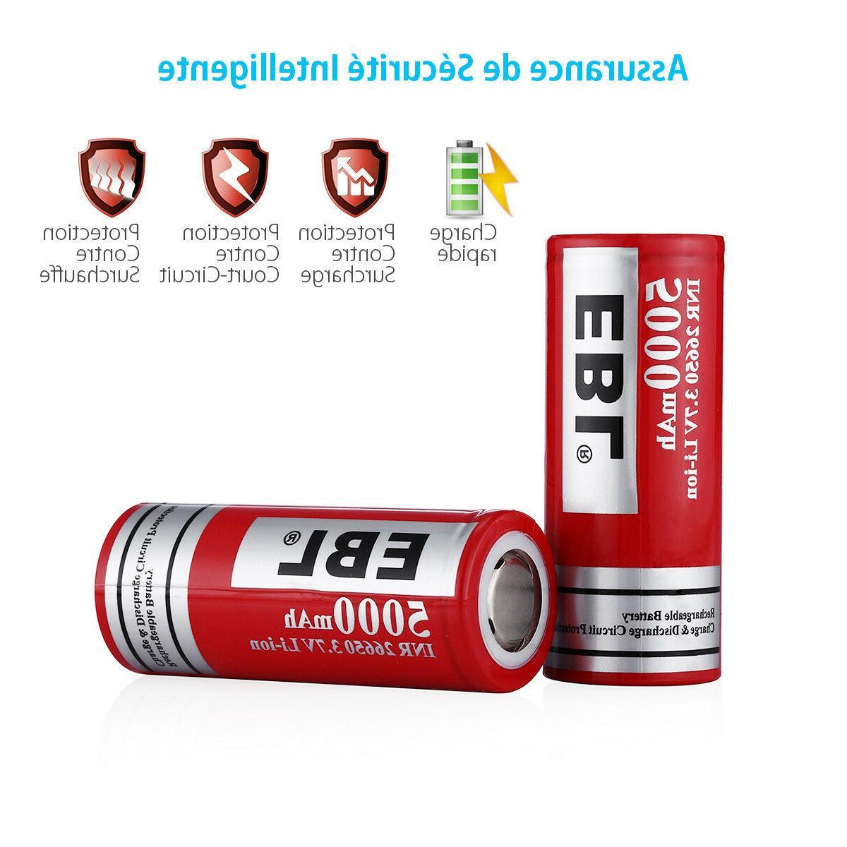 2PCS EBL 3.7V INR 26650 Lithium-ion Battery Case