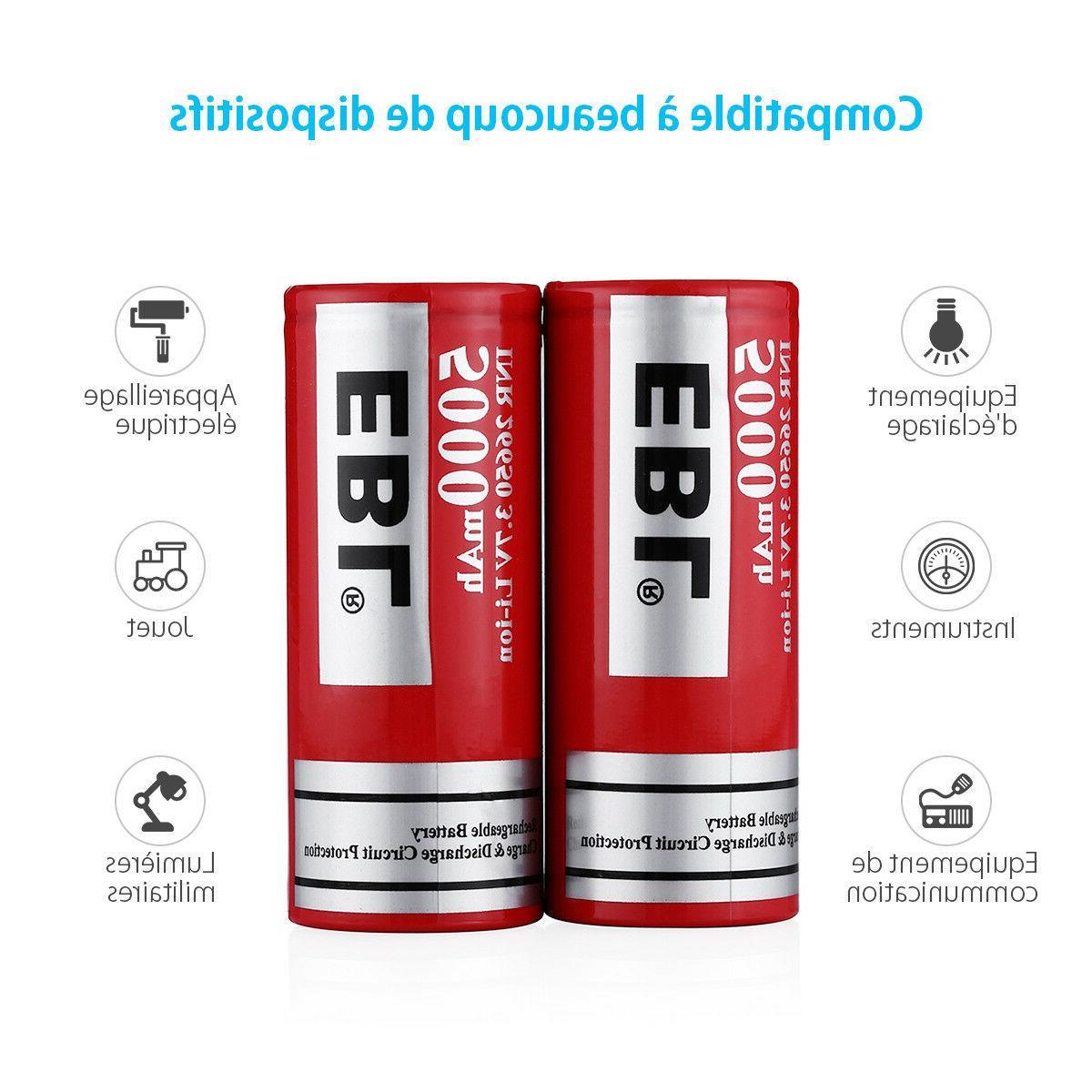 2PCS 26650 Rechargeable Li-ion Lithium-ion Battery w/