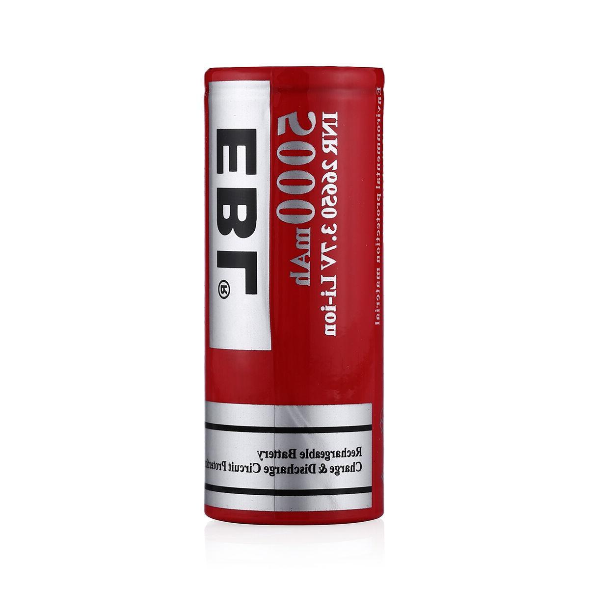 2PCS EBL 26650 5000mAh Li-ion Lithium-ion Battery w/