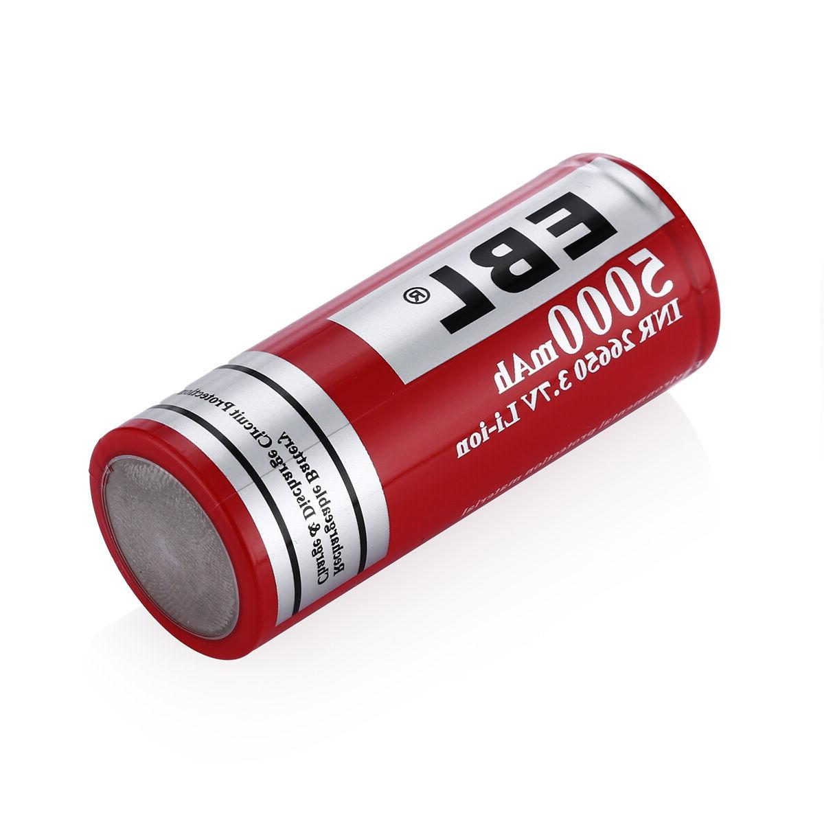 2PCS EBL 26650 Rechargeable Li-ion Lithium-ion Battery w/