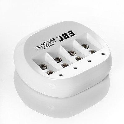 4x EBL Li-ion Rechargeable Battery + 9-Volt 4Slots Charger