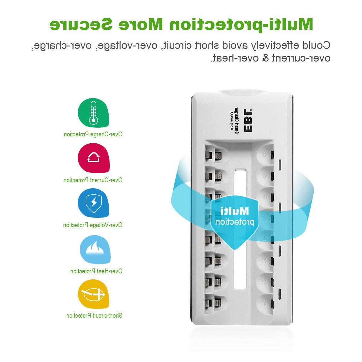 Lot EBL AAA Ni-MH Rechargeable Slot Charger Flashlight