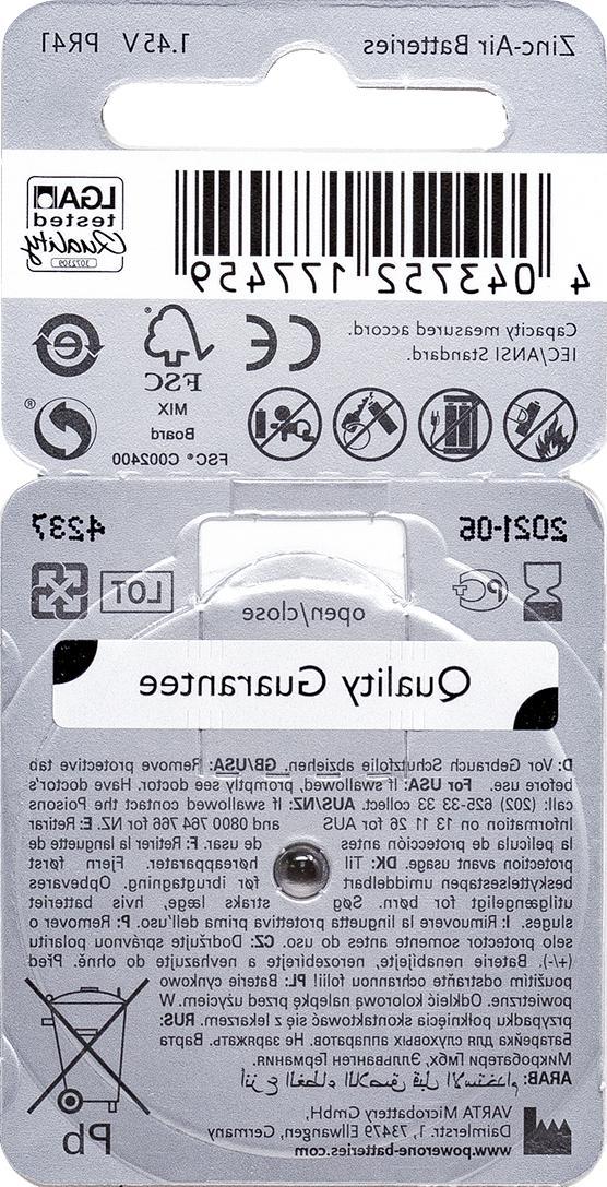 PowerOne 312 p312 PR41 MERCURY FREE 1.45V Hearing Aid Batteries