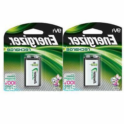 2 Pack Energizer 9V Rechargeable Battery NH22NBP NiMH 8.4V-