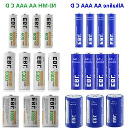 Lot EBL AA AAA C D Size NI-MH Rechargeable / Alkaline Non-Re