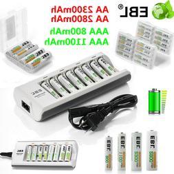 Lot EBL AAA AA Ni-MH Rechargeable Batteries +8 Slot Smart Ch
