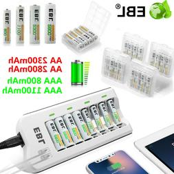 Lot AAA AA Ni-MH Rechargeable Battery + 8 Slot Smart Charger