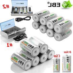 EBL Lot C D Size Cell Rechargeable Batteries / C D Size Char