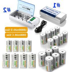 EBL C D Size C D Cell Rechargeable Batteries 5000mAh 10000mA