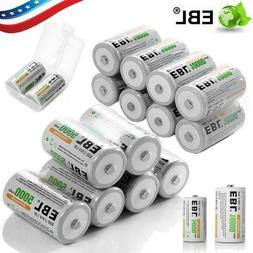 Lot EBL Ni-MH C D Size Cell Rechargeable Batteries High Capa