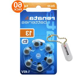 Renata Size 13 Hearing Aid Batteries Zinc Air 1.45V  + Keych