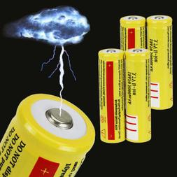 New 4pcs 18650 3.7V 5000mAH Lithium Rechargeable Battery Yel