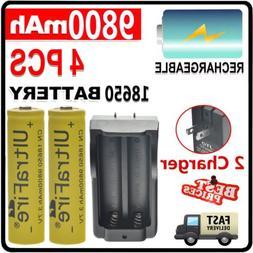 Combo 4pcs 3.7V rechargeable batteries+ 2pcs Dual charger fo