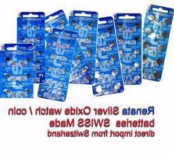 Renata Silver Oxide watch batteries 371 377 394 390 395 etc