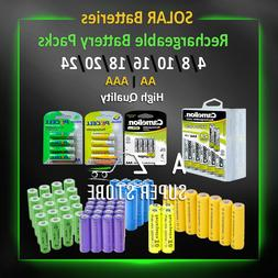 Solar Battery Pack 4 8 10 20 Rechargeable Batteries AA/AAA 6