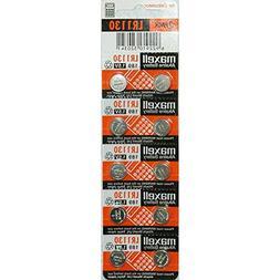 Strip of 10 Fresh Maxell LR1130  1.5v Alkaline Batteries